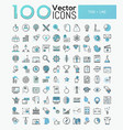 big set of 100 modern icons in thin line style vector image