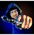 cartoon guy a gun aiming at close range vector image