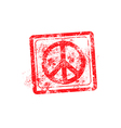 peace symbol red grunge rubber stamp vector image