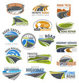 road highway and freeway isolated symbol set vector image