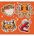 sealife cartoon character pack vector image