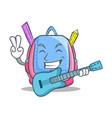 with guitar school bag character cartoon vector image