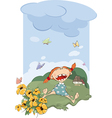 The girl on a meadow vector image vector image