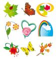 set of elements of nature vector image vector image