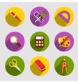 Flat School Icons Set vector image