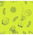 Lime and mint lemonade seamless pattern vector image