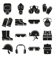 Job safety equipment icons set vector image
