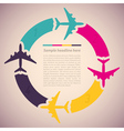 Background with colorful airplanes vector image