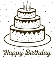 Happy Birthday greeting card birthday cake vector image