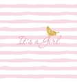 It s a Girl Baby shower template with gold vector image