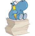 little hippo-poet Cartoon vector image