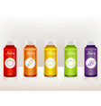 set of juice bottles with fruit icons vector image