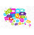 social media icons chat bubble on white background vector image
