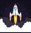 space startup rocket in the clouds style vector image
