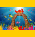 tropical crab with beautiful underwater world vector image