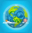 travel go travel concept with baloon and plane vector image