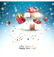 Christmas background with christmas gift boxes for vector image vector image