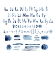 Dark Blue Watercolor Alphabet Hand Drawn vector image vector image