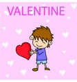 Valentines Day Boy with Red Hearts vector image