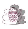 figure eggs easter inside the hamper and rabbit vector image