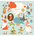 christmas background collection of icons vector image vector image