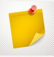 Blank yellow sticker with bending corner on vector image vector image