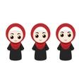 Cartoon girls with hijab vector image