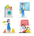 cleaning theme banners with stuff vector image