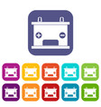 electricity accumulator battery icons set flat vector image