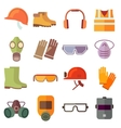 Flat job safety equipment icons set vector image