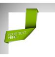 Green Paper origami ribbon vector image