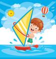 of kid windsurfing vector image