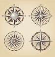set of vintage old antique nautical compass roses vector image