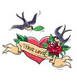 tattoo swallows fly over heart and rose true love vector image