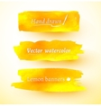 Yellow watercolor banners vector image