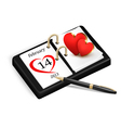Valentines Day in calendar vector image vector image