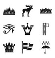 crown of the king icons set simple style vector image