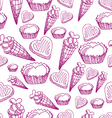 seamless pattern with candy ice cream and hearts vector image