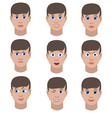 Set of variation of emotions of the same guy vector image