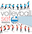 Volleyball lessons set vector image