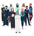 arab muslim business people teamwork arabic vector image
