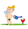 Cupid watering a flower vector image vector image