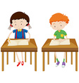 Boy and girl studying at their tables vector image