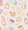 Cosmetics on pink pattern vector image