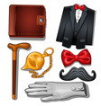 gentleman aristocrat clothing and accessories vector image