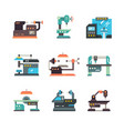 industrial cnc machine tools and automated vector image