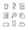 Kitchen appliances line style icon set vector image