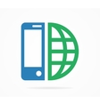 logo combination of a phone and earth vector image