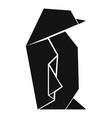 origami penguin icon simple black style vector image