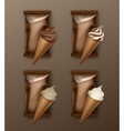 Set of Chocolate Ice Cream Waffle Cone with Foil vector image